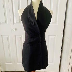 Zara Black Halter Tuxedo Romper Skort size xs